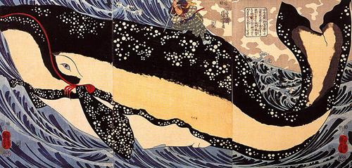 歌川国芳の浮世絵『宮本武蔵の鯨退治』
