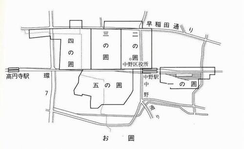 中野「犬屋敷(お囲い)」5つの配置図