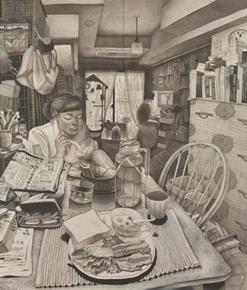 「FACE 2020」 受賞作品『朝ご飯』小俣花名(墨・胡粉・水彩色鉛筆・和紙、175.5×150.5cm)
